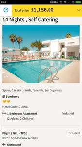 From Newcastle: Part School Holidays April Two Week Holiday to Tenerife £289pp @ Thomas Cook