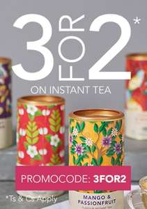 3 For 2 on All Instant Tea with Code 3FOR2 @ Whittard