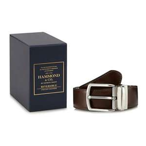 Hammond & Co. by Patrick Grant - Black and brown reversible leather belt in a gift box £22.50 + Free Delivery with code SH4Z at Debenhams