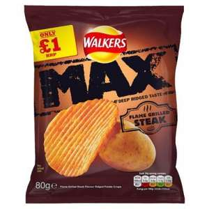Walkers Max flame grilled steak 80g 3 for £1 or 39p each @ Heron Foods