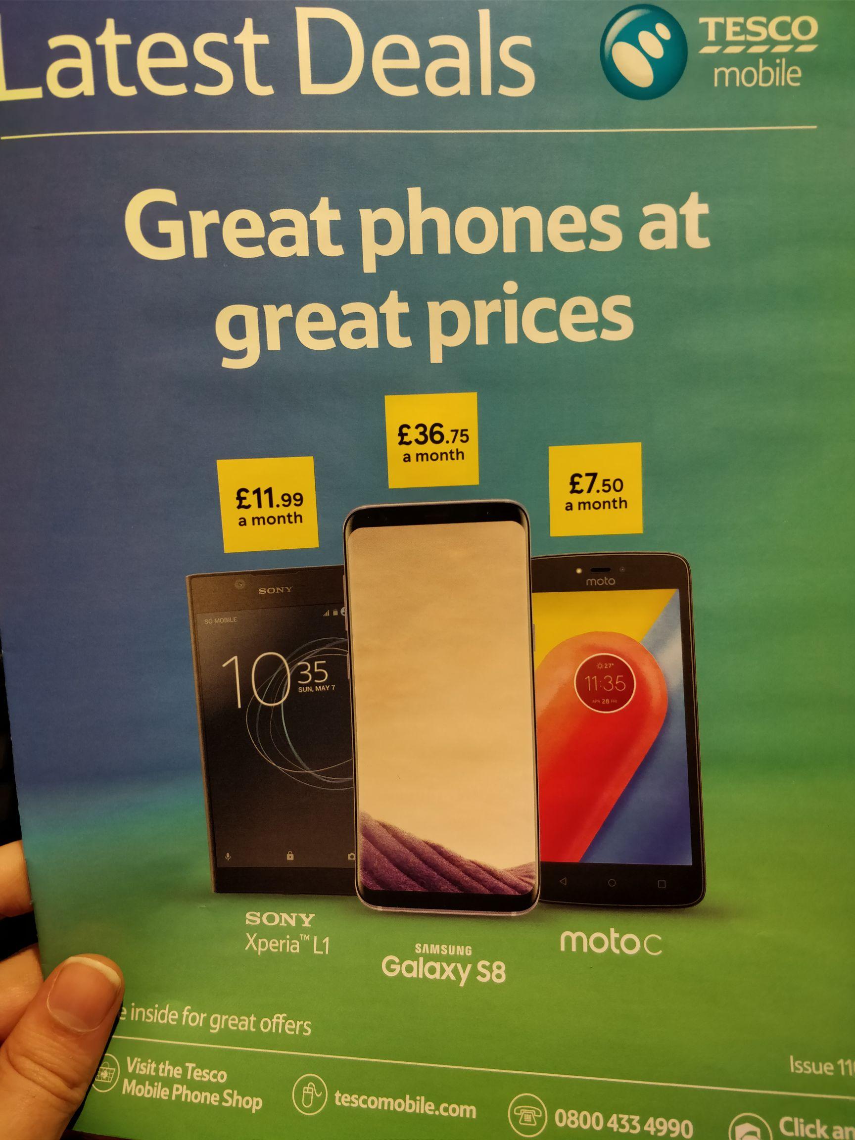 Tesco Mobile Feb-March deals inc S9