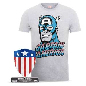Marvel Captain America Men's T-Shirt and 1940's Shield Bundle £12.99 delivered @ Zavvi