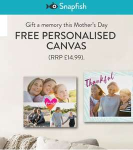 Free Personalised Canvas w/ code @SnapFish (WORTH £14.99)  just pay £6 P&P - for O2 customers/ 02 Priority