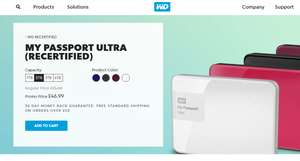 WD 2TB MY PASSPORT ULTRA (Re-certified) External HD in White NOW £42.99! (Free delivery on orders over £50 or Free delivery trick (see notes from dlm136)
