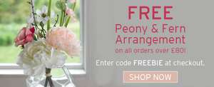 Peony and Fern Arrangement Gifted with Every £80 Spend on Artificial Arrangements @ Bloom