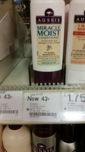 Aussie miracle moist conditioner usually 1.69 down to 0.43p instore at Boots highcross leicester