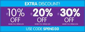 10 off £10 /  20% off £20 / 30% off £30 Spend with code @ The works