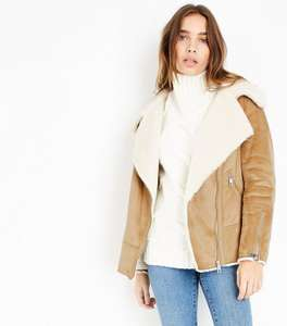 New Look Tan Faux Shearling Aviator Jacket now £8 + £3.99 delivery from £49.99!!
