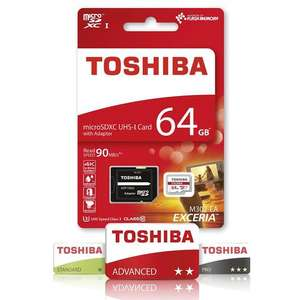 Toshiba 64GB Exceria M302 Micro SD Card (SDXC) + Adapter - 90MB/s £15.19 plus 4.01% tcb - MyMemory