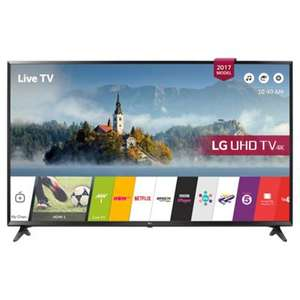 "LG 49UJ630V 49 Inch Smart LED TV 4K Ultra HD Freeview HD and Freesat HD 3 HDMI now £377.10 delivered with code @ AO Ebay (or 43"" now £314.10 /  55"" now £476.10)"