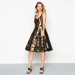 Debut - Gold floral print 'Georgia' v-neck midi prom dress + Free Delivery with code SH4Z at Debenhams - £39