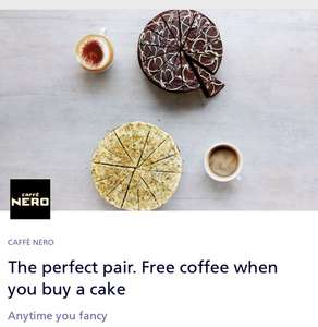 Free Coffee with the purchase of a cake/tray bake at  Caffe Nero with O2 Priority