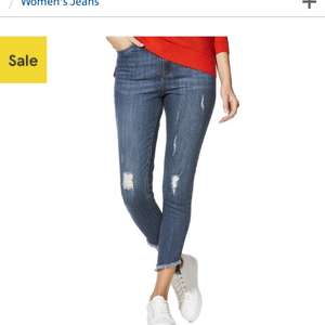 F&F Distressed Asymmetric Hem Mid Rise Skinny Jeans for £7 (size 6 and 8)