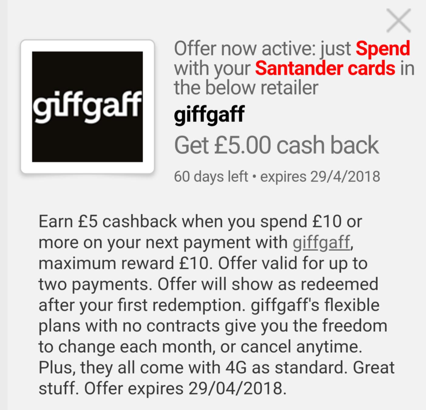 Giffgaff £5 top up reward with Santander