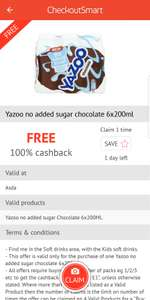 Three packs of Yazoo 6x200ml free at Asda using CheckoutSmart App (initial purchase required)