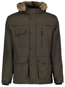 Hooded shower resistant mens faux fur trim padded parka,sizes M,L,XL £20 was £40 @ Asda George