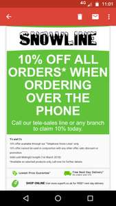 10% of telephone orders today only at Superfi - Telephone orders