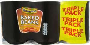 Never pay more. 3x 400g Branston baked beans for £1. Or 6x 410g for £2, a much better deal - @ B&M