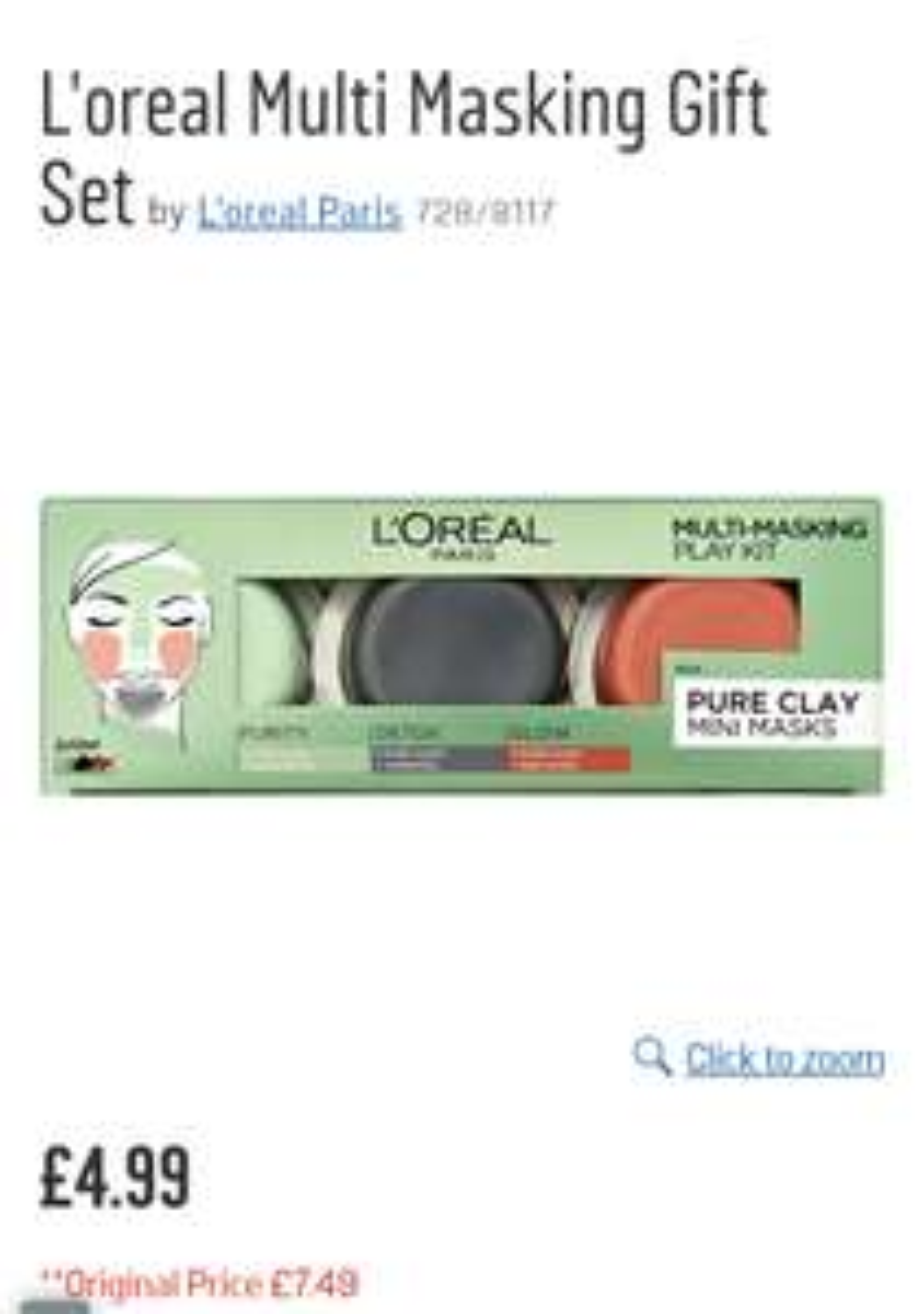L'oreal Multi Masking Gift Set Now: £4.99 @ Argos
