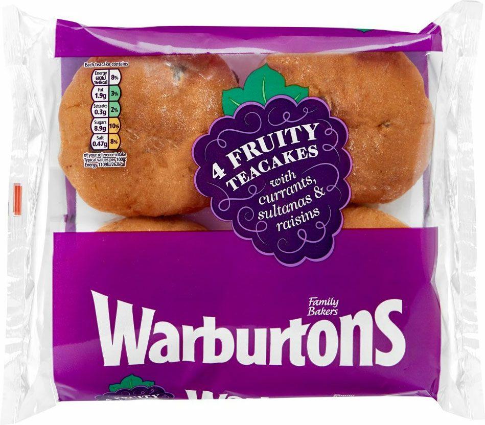 Warburtons Fruity Teacakes (4 pack) - 65p @ ASDA