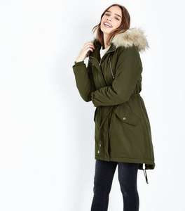 Newlook Sale Khaki Faux Fur Trim Hooded Fishtail Parka Coat £20