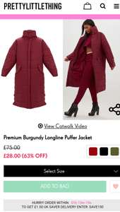 Premium Burgundy Longline Puffer Jacket | Now £28 @ Pretty Little Things