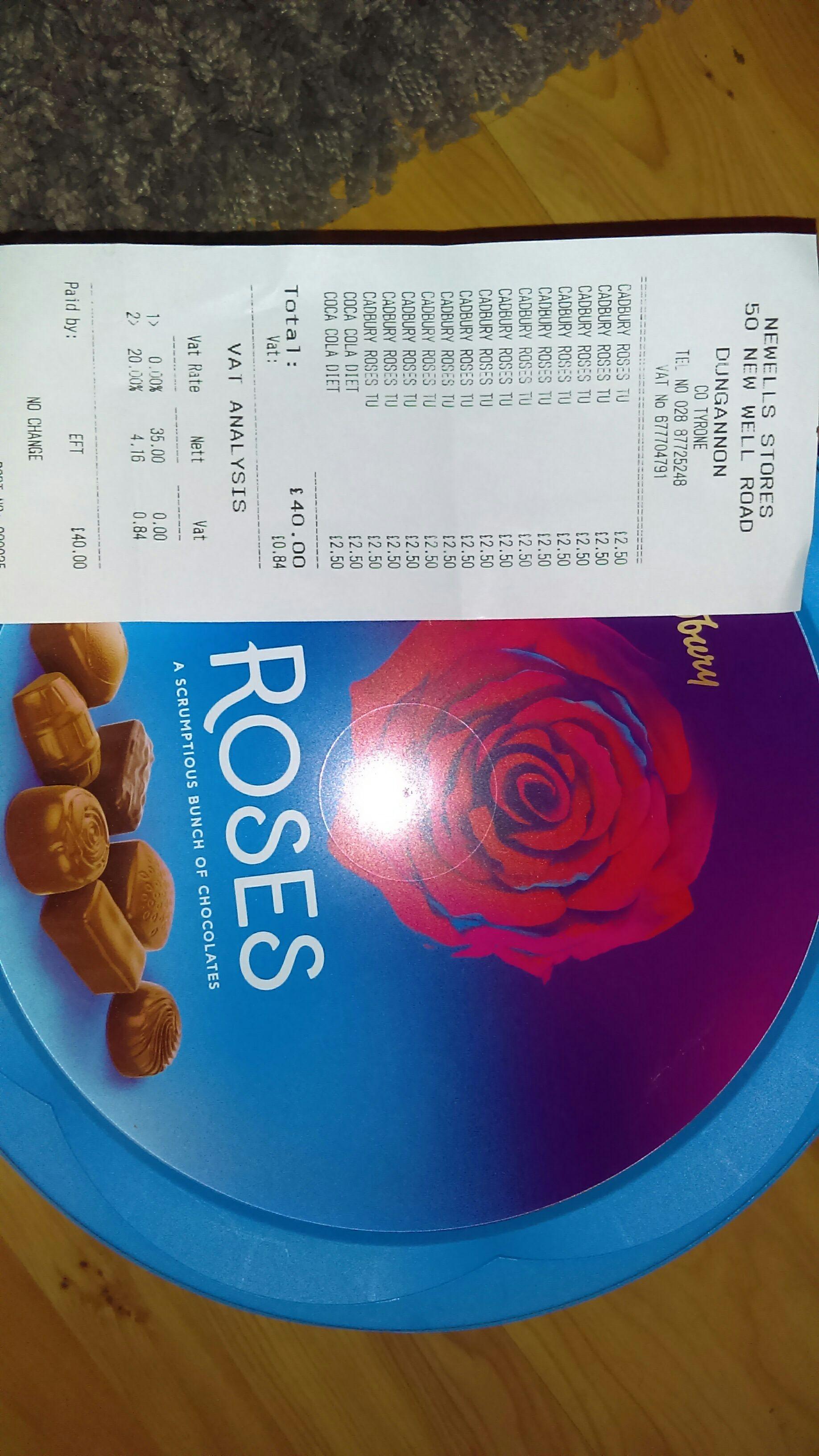 Cadburys roses 660g £2.50 instore @ newells stores dungannon