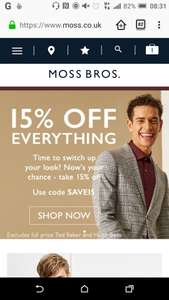 Moss Bros - 15% off, including clearence, use code SAVE15