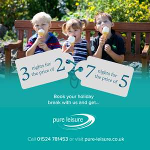 3 Nights for the price of 2, 7 Nights for the price of 5 with Codes @ Pure Leisure