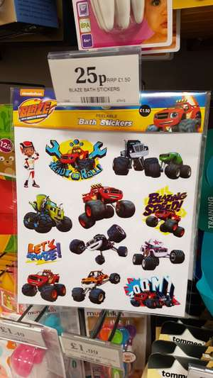 Blaze bath stickers 25p instore home bargains