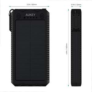 AUKEY Solar Power Bank 12000mAh with Dual USB Ports - £9.99 (Prime) / £13.98 (non Prime)  Sold by yueying and Fulfilled by Amazon.
