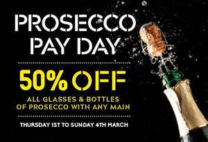 IT'S PROSECCO PAY DAY: 50% OFF PROSECCO at prezzorestaurants - Thursday 1st March to Sunday 4th March