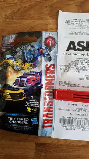 Transformers tiny turbo chargers blind bag 30p @ Asda instore