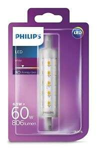 Philips LED 6.5 W R7S Double Ended Reflector replace Light Bulb 118mm - Cool White, £4.99 Delivered @ ebay, seller compactcompatibles2012