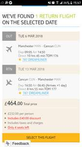 Flights only to cancun from £464 via Tui