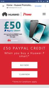£50 Paypal Credit when you buy Huawei P Smart