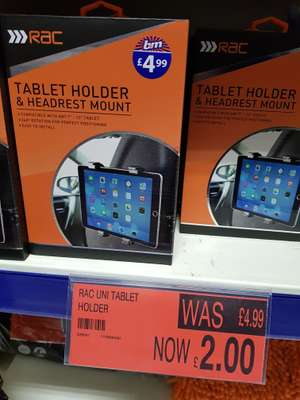 RAC CAR TABLET HOLDER, HEADREST MOUNT £2 instore @ B&M