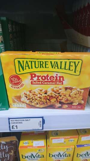 Nature valley salted caramel nut protein bars x4 £1 instore @ Poundstretcher