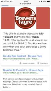 Two kids eat free when one adult purchases a £8.99 breakfast meal @ Brewers Fayre