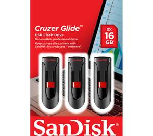 SANDISK Cruzer Glide USB 2.0 Memory Stick - 16 GB, Pack of 3 £12.99 with code @ Currys