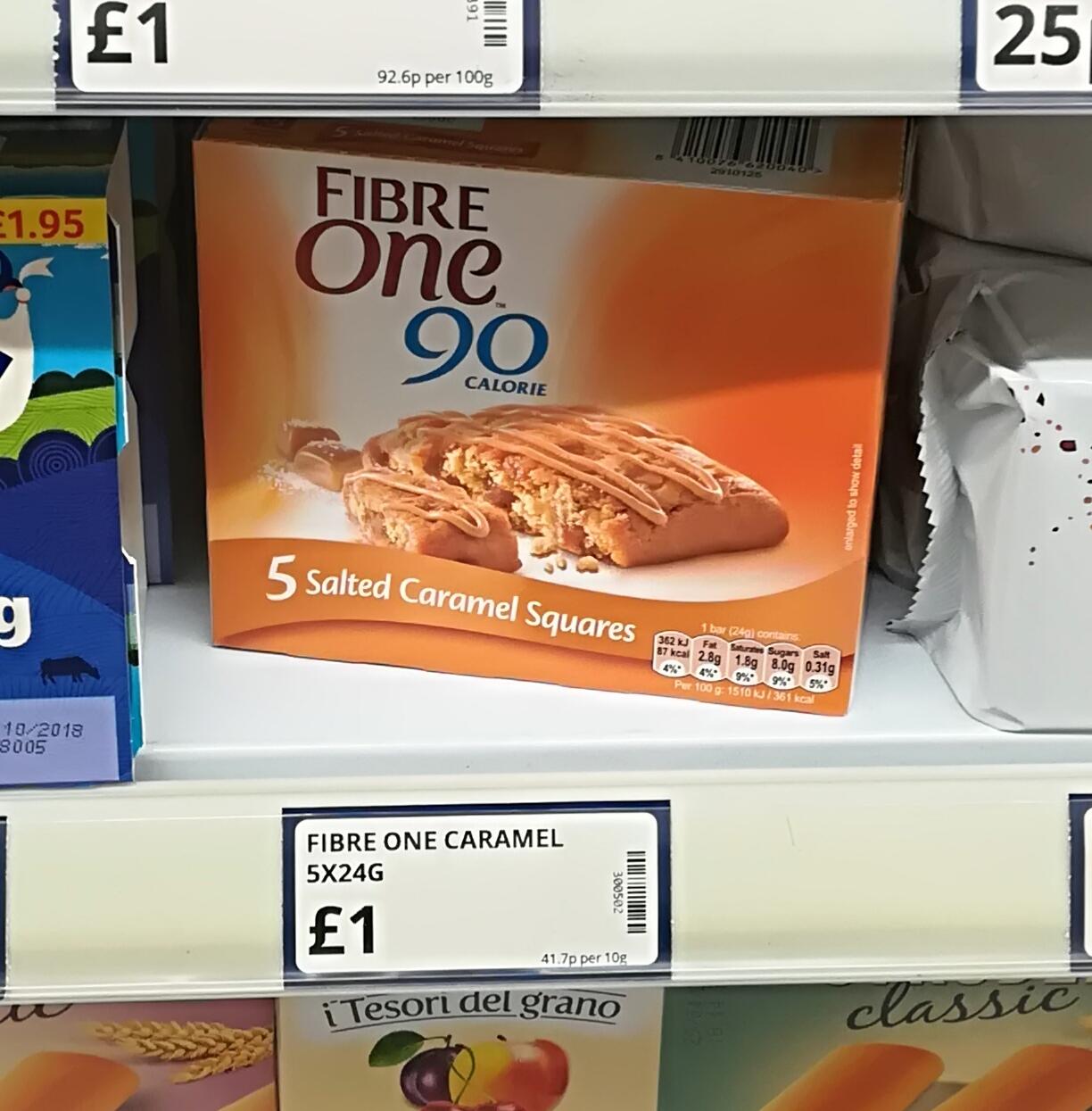 Fibre One 90 Calorie 5 Salted Caramel Squares £1 @ Poundstretcher