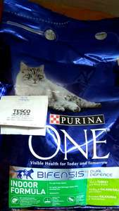Purina One 3kg Indoor Formula cat food reduced to clear at Tesco £7.25