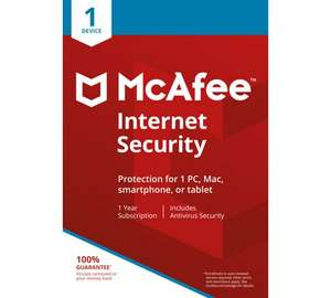 McAfee Internet Security 1 Year 1 User - £3.99 + Free click and collect at Argos