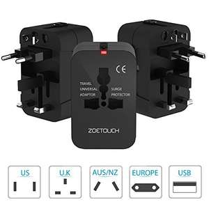 Travel Adapter-ZOETOUCH Travel Plug Adapter Universal World 2 USB Wall Plug Travel Adapter for Mobile Phones and Tablet -Black - £7.99 Prime / £11.98 non Prime - Sold by zoetouch and Fulfilled by Amazon