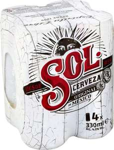 Sol Lager 330ml 4 pack of cans £2.49 instore @ Home Bargains
