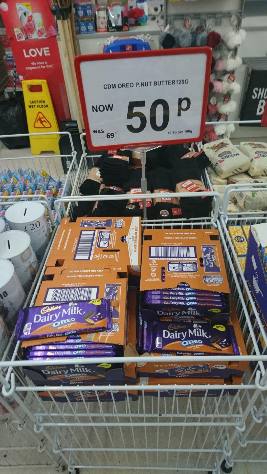 Cadbury dairy milk Oreo peanut butter 120g - 50p instore @ Poundstretcher