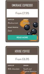 For new subscribers, 5 GBP off with a code. 250g per bag @ Pact Coffee