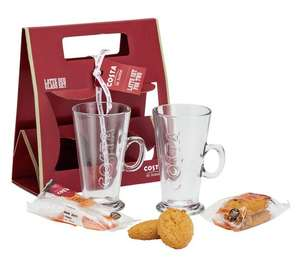 Costa Latte Glasses - Set of 2 (Limited Stock) With Ginger biscuit duo & fruit & oat duo at Argos - £3.99 (C&C)