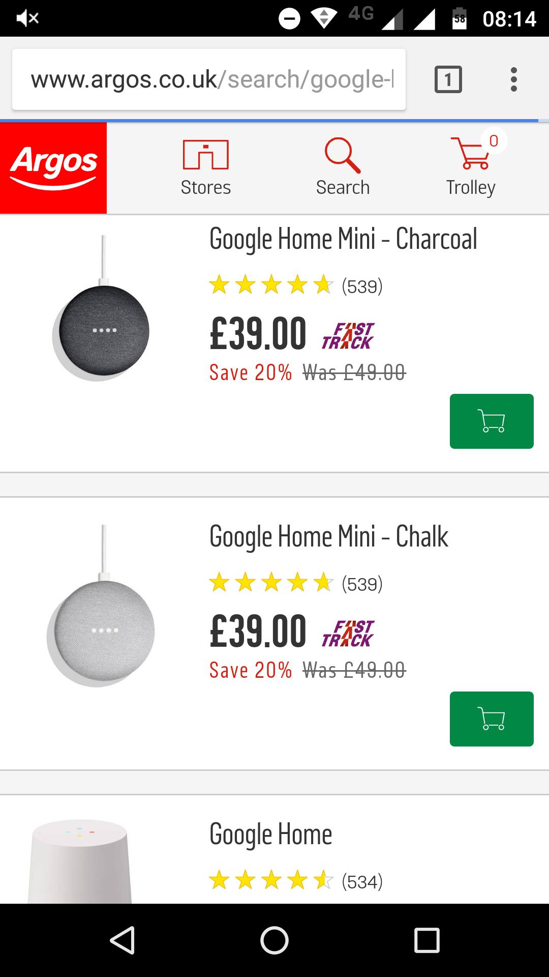 Google Home Mini £39 @ Argos