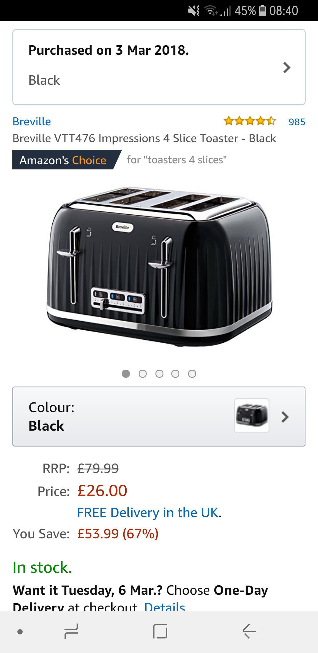 Breville VTT476 Impressions 4 Slice Toaster - Black at Amazon for £26